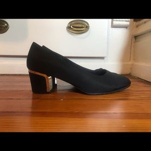 "Black 2"" almond toe vintage block heel"